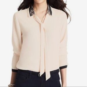 LOFT Pink Button Down Shirt with lace collar